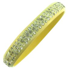 Vintage celluloid bangle Bracelet with crystal rhinestones