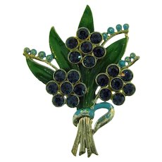 Vintage large 1940's pot metal floral spray Brooch with enamel and rhinestones