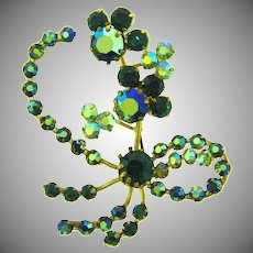 Made in Austria 1960's green rhinestone Brooch