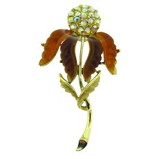 Gorgeous vintage long rhinestone flower Brooch