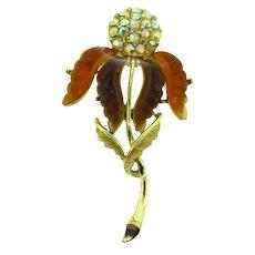 Gorgeous vintage long rhinestone flower Brooch