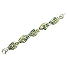 Signed Crown Trifari silver tone Bracelet with gray and white imitation pearls