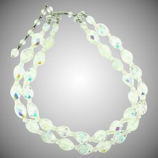 Vintage two strand crystal AB bead choker Necklace