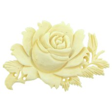 Vintage celluloid carved floral Brooch