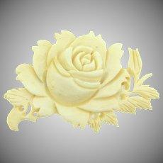 Vintage celluloid carved floral Brooch