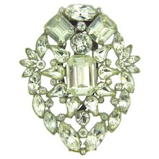Vintage large crystal rhinestone 1930's Dress Clip