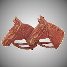 Vintage celluloid double horse head Brooch