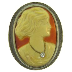 Vintage early celluloid habille cameo Brooch