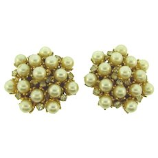 Signed Leru large gold tone imitation pearl and crystal rhinestone clip back Earrings