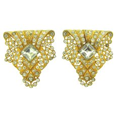 Vintage pair of gold tone Dress Clips with pave set crystal rhinestones