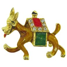 Vintage figural donkey Scatter Pin with rhinestones and enamel