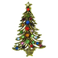 Signed Hollycraft figural themed Christmas tree Brooch with rhinestones