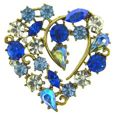 Signed BSK heart shaped rhinestone Brooch with blue and crystal stones
