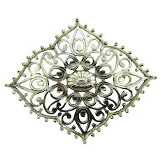 Signed Vendome large silver tone open Brooch