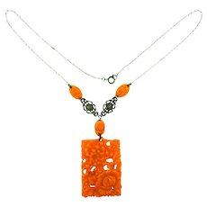 Vintage celluloid coral colored carved pendant Necklace with marcasites