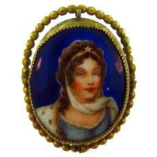 Marked Czechoslovakia early transfer porcelain Brooch