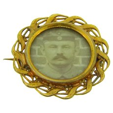 Vintage early photo Brooch of military soldier