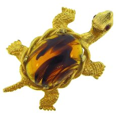 Vintage figural turtle Brooch with art glass shell