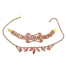 Vintage rhinestone Bracelet and choker Necklace in pink tones