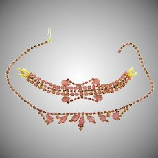 Vintage rhinestone Bracelet and choker Necklace in pink tones