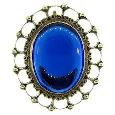 Stamped 925 ANR Mexican silver large oval Brooch with domed blue glass cabochon