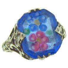 Marked Sterling vintage Ring with floral design glass