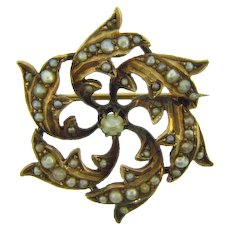 Antique small early floral gold filled Scatter Pin with genuine seed pearls