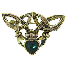 Signed Soloor Claddagh Brooch with green glass stone