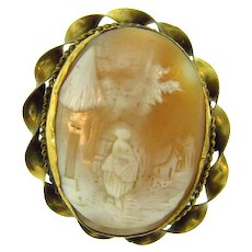 Vintage large scenic shell Cameo Brooch with gold tone twisted frame