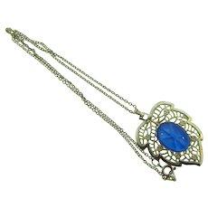 Vintage silver tone pendant leaf Necklace with blue star cabochon