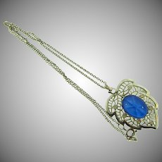 Vintage silver tone pendant leaf Necklace with blue star cabochon