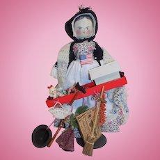 Old Wood Grodnertal Doll Peddlar Doll