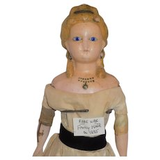 Antique German Wax over Papier Paper Mache doll Rare Molded Hair Glass Eyes All Original