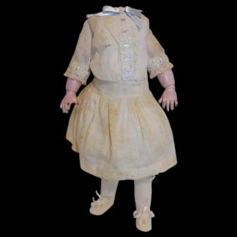 Antique Jumeau DEP SFBJ Doll Body Kiss Throwing TLC Old Clothes