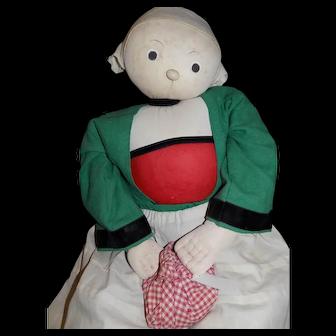 """LARGE 39"""" Vintage/Antique La Vraie Poupee BECASSINE FRENCH Cloth Doll"""