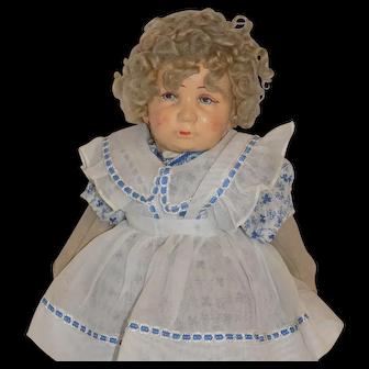 Antique German Art Doll Bing Maker Character Cloth Felt Doll Oil Cloth
