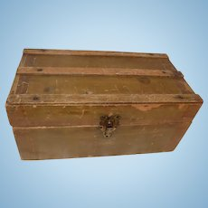 Antique German French Doll Wood Trunk Chest w/Drawer