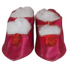 Antique Size 14 French Silk Doll Shoes Magenta Pink