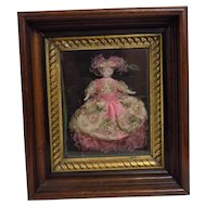Antique German Hertwig Doll House Doll Framed Picture