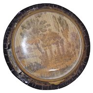 Antique French Faux Tortoise Shell Compact Petit Point