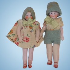 Antique German All Bisque Pair Flapper art deco Hertwig CUTE