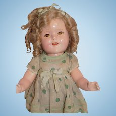 """Vintage 15"""" Ideal Composition Shirley Temple Doll Green Polka Dot A.O."""