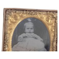 Antique Tin Type Civil War Era Little Girl Baby with Case Gold Frame
