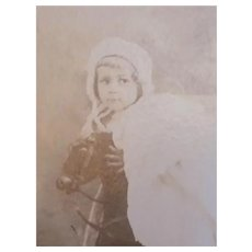Antique Photograph Little Girl on Rocking Horse Pull Toy New York