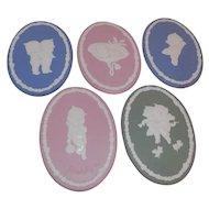 Vintage Kewpie Doll Jasper Ware Plates Oval Plaques 5 Plaques