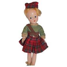 "9"" Vintage Madame Alexander Composition International SCOTCH Tagged Doll TLC"