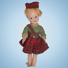"9"" Vintage Madame Alexander Composition International SCOTCH Tagged Doll TLC"