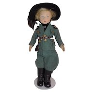 "14 1/2"" Lenci Cloth Felt Italian Soldier Doll All Original Series 80"