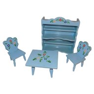 "Vintage Wood Blue & Flower 8"" Doll Table Chairs Hutch Danish Furniture"
