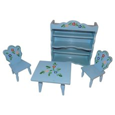 """Vintage Wood Blue & Flower 8"""" Doll Table Chairs Hutch Danish Furniture"""